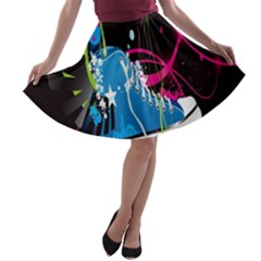 Sneakers Shoes Patterns Bright A Line Skater Skirt
