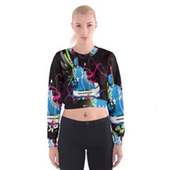 Sneakers Shoes Patterns Bright Women s Cropped Sweatshirt