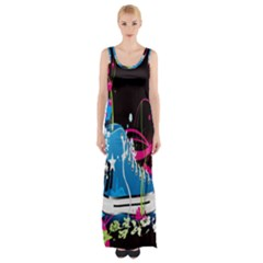 Sneakers Shoes Patterns Bright Maxi Thigh Split Dress