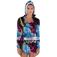 Sneakers Shoes Patterns Bright Women s Long Sleeve Hooded T-shirt