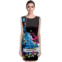 Sneakers Shoes Patterns Bright Classic Sleeveless Midi Dress