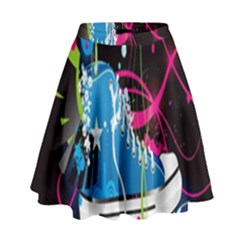 Sneakers Shoes Patterns Bright High Waist Skirt