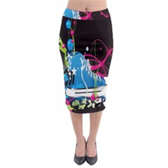 Sneakers Shoes Patterns Bright Midi Pencil Skirt