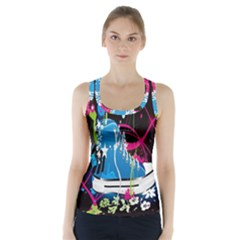 Sneakers Shoes Patterns Bright Racer Back Sports Top