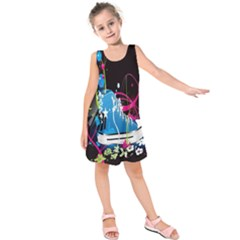 Sneakers Shoes Patterns Bright Kids  Sleeveless Dress