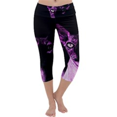Pink Sphynx cat Capri Yoga Leggings