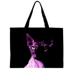 Pink Sphynx cat Zipper Large Tote Bag