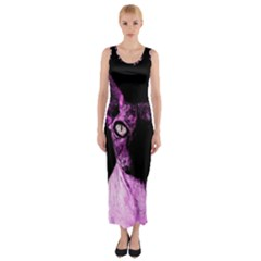 Pink Sphynx cat Fitted Maxi Dress