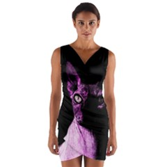 Pink Sphynx cat Wrap Front Bodycon Dress