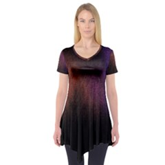 Point Light Luster Surface Short Sleeve Tunic