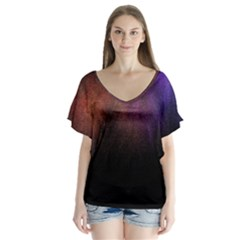 Point Light Luster Surface Flutter Sleeve Top