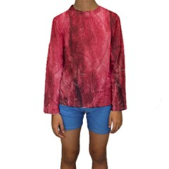 Red Background Texture Kids  Long Sleeve Swimwear