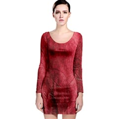 Red Background Texture Long Sleeve Bodycon Dress