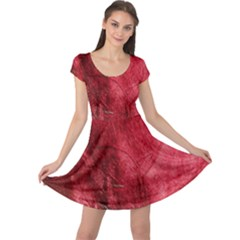 Red Background Texture Cap Sleeve Dresses