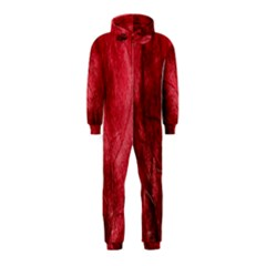Red Background Texture Hooded Jumpsuit (Kids)