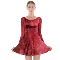 Red Background Texture Long Sleeve Skater Dress