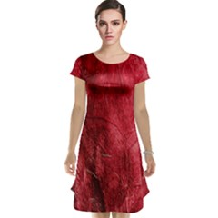 Red Background Texture Cap Sleeve Nightdress