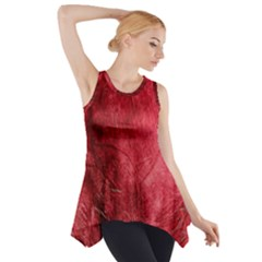Red Background Texture Side Drop Tank Tunic