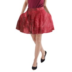 Red Background Texture A-Line Pocket Skirt
