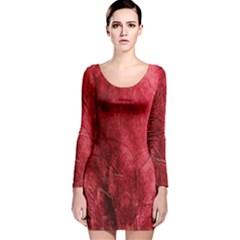 Red Background Texture Long Sleeve Velvet Bodycon Dress