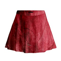 Red Background Texture Mini Flare Skirt