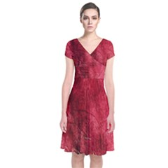 Red Background Texture Short Sleeve Front Wrap Dress
