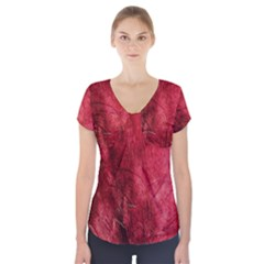 Red Background Texture Short Sleeve Front Detail Top