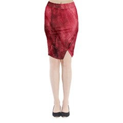 Red Background Texture Midi Wrap Pencil Skirt