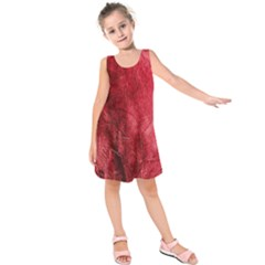 Red Background Texture Kids  Sleeveless Dress