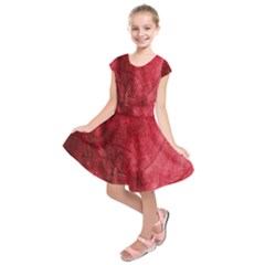 Red Background Texture Kids  Short Sleeve Dress