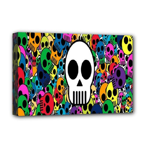 Skull Background Bright Multi Colored Deluxe Canvas 18  x 12
