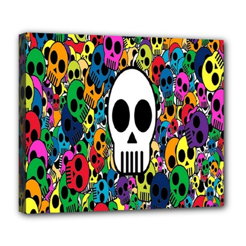 Skull Background Bright Multi Colored Deluxe Canvas 24  x 20
