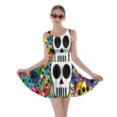 Skull Background Bright Multi Colored Skater Dress