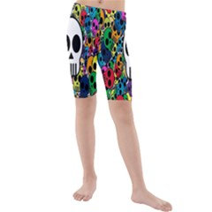 Skull Background Bright Multi Colored Kids  Mid Length Swim Shorts