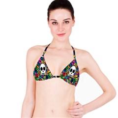 Skull Background Bright Multi Colored Bikini Top