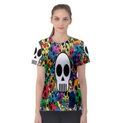 Skull Background Bright Multi Colored Women s Sport Mesh Tee