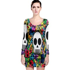 Skull Background Bright Multi Colored Long Sleeve Bodycon Dress