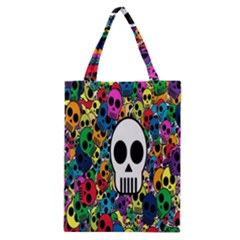 Skull Background Bright Multi Colored Classic Tote Bag