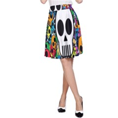 Skull Background Bright Multi Colored A-Line Skirt
