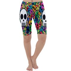 Skull Background Bright Multi Colored Cropped Leggings
