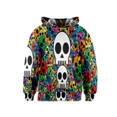 Skull Background Bright Multi Colored Kids  Pullover Hoodie