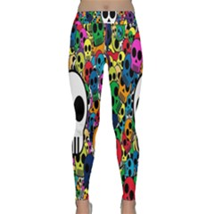 Skull Background Bright Multi Colored Classic Yoga Leggings