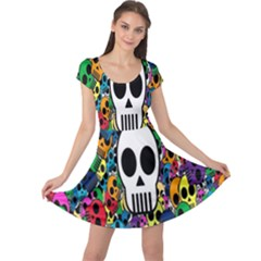 Skull Background Bright Multi Colored Cap Sleeve Dresses