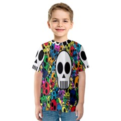 Skull Background Bright Multi Colored Kids  Sport Mesh Tee