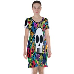 Skull Background Bright Multi Colored Short Sleeve Nightdress