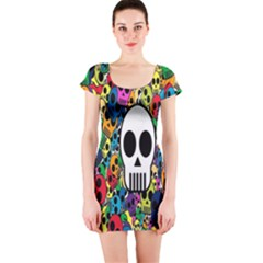 Skull Background Bright Multi Colored Short Sleeve Bodycon Dress