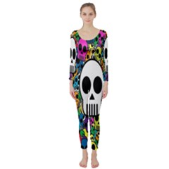 Skull Background Bright Multi Colored Long Sleeve Catsuit