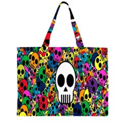 Skull Background Bright Multi Colored Large Tote Bag