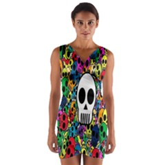 Skull Background Bright Multi Colored Wrap Front Bodycon Dress