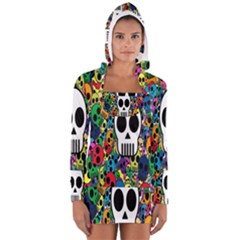 Skull Background Bright Multi Colored Women s Long Sleeve Hooded T Shirt